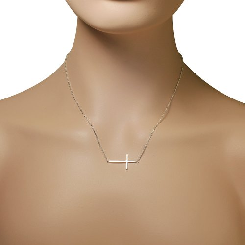 925 Sterling Silver Sideways Cross Pendant Necklace by My Daily Styles (Image #3)