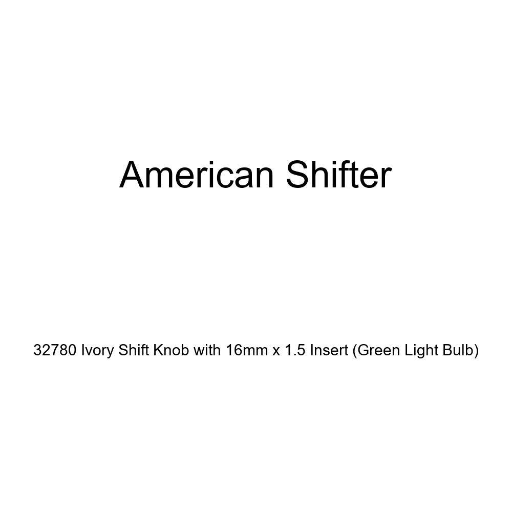 Green Light Bulb American Shifter 32780 Ivory Shift Knob with 16mm x 1.5 Insert