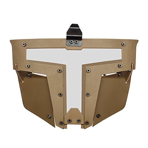 Outry Airsoft Tactical Full Face Mask, Fast Helmet Mask, Tactical Protective Mask Airsoft/Paintball/BB Gun/CS Game/Hunting/Shooting (Glasses Vision) (Tan/Coyote Brown) ()