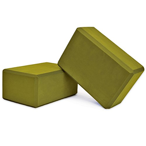 YogaAccessories High Density Foam Yoga Blocks (Set of 2) - Olive Green