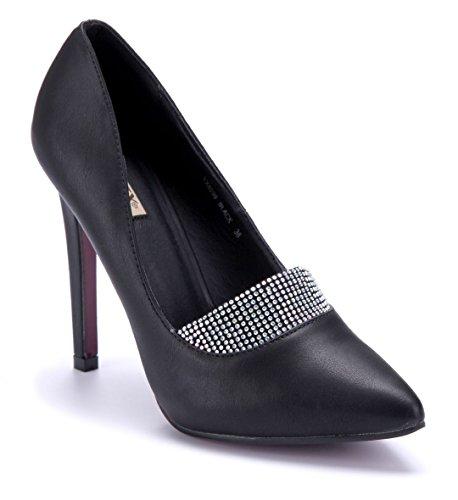 Schuhtempel24 Damen Schuhe Klassische Pumps Stiletto Ziersteine 12 cm High Heels Schwarz
