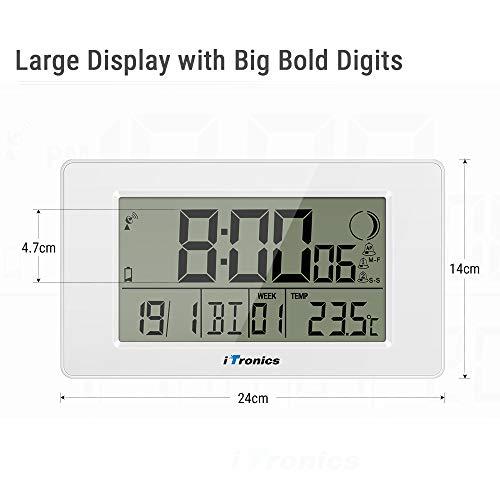 iTronics Reloj de Radio Digital de Pared con Indicador de Temperatura Reloj Despertador Temporizador de Cuenta atrás, Blanco: Amazon.es: Hogar