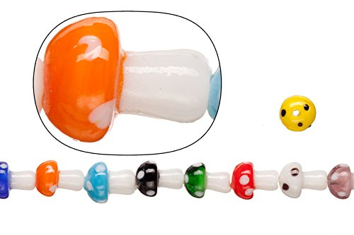 Hand Blown Glass Round Beads - Lamp worked glass beads, mix color with dots, 10x13.2mm mushroom sold per 20pcs/30cm string
