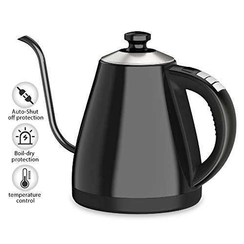 Electric Gooseneck Kettle (BPA Free) with Keep Warm Function and Variable Temperature Control, Ejoyous 40 OZ 1.2L Stainless Steel Water Boiler Heater with LED Display, Auto Shut-off and Boil-Dry Prote