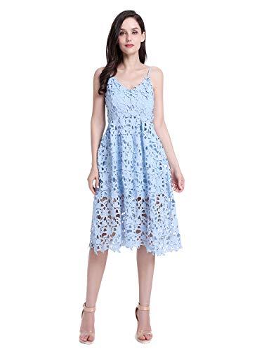 ZURIFFE Women's Summer Wedding Party Cami Strap Midi Lace Dress Light Blue (Spaghetti Strap Sheer Lined Dress)