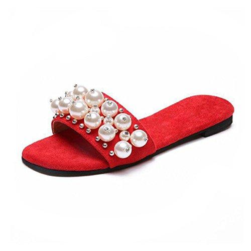 Women Pearl Slippers Flip Flops Beach Sandals On Slides Women Casual Flat Shoes Lace FEMA