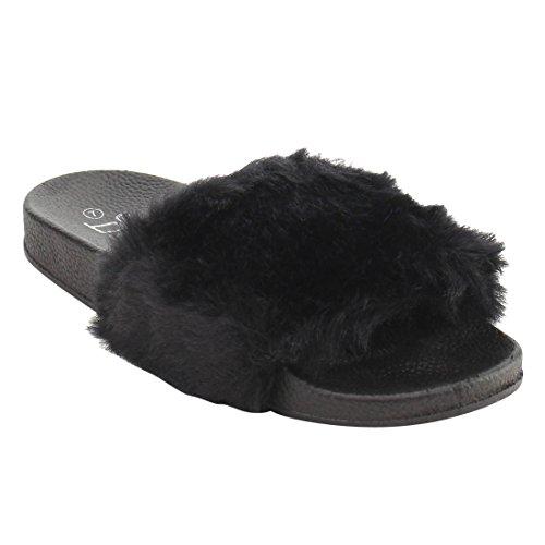 cheap BETANI Womens Farah-1 Furry Slide Sandals supplies