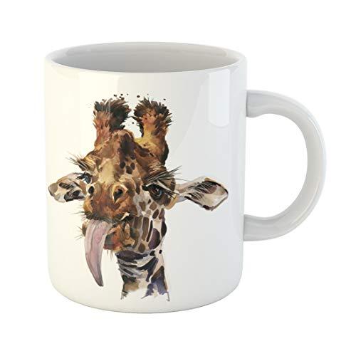 Semtomn Funny Coffee Mug Africa Funny Giraffe Watercolor Illustration African Animal Art Artistic Background 11 Oz Ceramic Coffee Mugs Tea Cup Best Gift Or Souvenir (Giraffe Print Mug)