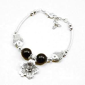 2081 vvSSD1D66 plata tibetana de ley pulsera de cadena de la mano de joya en plata de