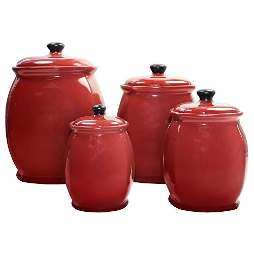 American Atelier Hearthstone 4 Piece Canister Set with Lids, 19x7x13 inches, Chili ()