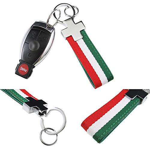 Xotic Tech (1) Euro Italian Flag Stripe Nylon Band w/Inner Leather Key Fob Chain Keychain Ring For Fiat Ferrari Maserati Lamborghini, BMW etc (Thin Italian Chain)