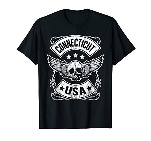 Connecticut USA Flying Skull Biker Badge T-Shirt