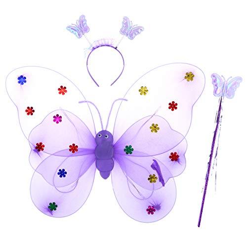 TENDYCOCO 3 piezas de alas de elfo de la mariposa, bujías, purpurina, hada, traje de cosplay, un precioso disfraz de ángel...
