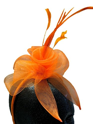 [Bright Color Mini Fascinator Cocktail Hat Headband Tulle Netting Feathers Lady] (Elvira Plus Size Costumes)