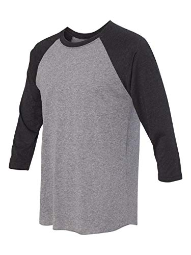 - Next Level Apparel 6051 Unisex Tri-Blend 3 by 4 Sleeve Raglan - Vintage Black & Premium Heather44; Large