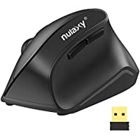 Nulaxy Optical Mouse 2.4G Wireless Vertical Ergonomic Mouse with 6 Buttons, USB Receiver, 3 Adjustable DPI Levels Best for Notebook, PC, Laptop, Computer, MacBook