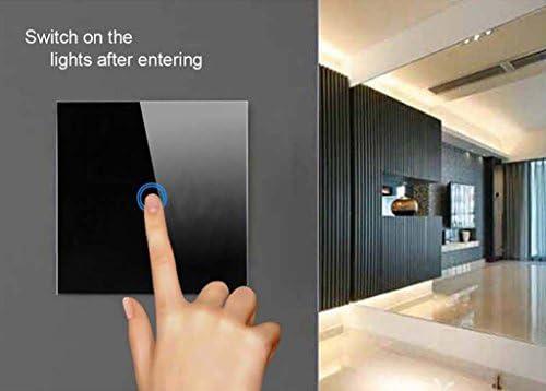 Techkoo Interrupteur Tactile T/él/écommande /à Distance Mural Lampe Commutateur Contr/ôleur T/él/écommande Panneau de Verre Tactile 1 bouton noir