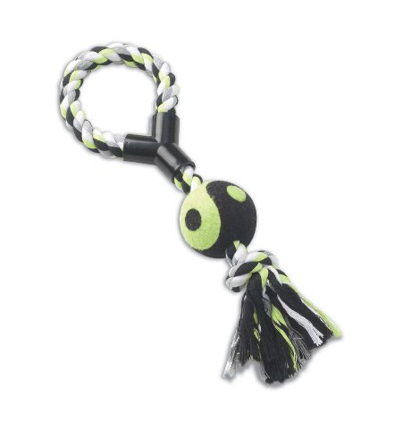 picture Petrageous Pet Toy Karmarope, 14-Inch Loop Tug with Tennis Ball