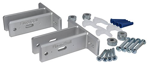 Fix-a-Stall Toilet Partition Wall Attachment Repair Kit - Two Upgrade Brackets w/Hardware (Silver) ()