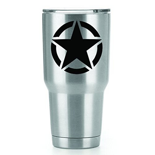 Jeep Star Vinyl Decals Stickers (2 Pack!!!) | Yeti Tumbler Cup Ozark Trail RTIC Orca | Decals Only! Cup not Included! | 2-3 X 3 inch Black Decals | KCD1072