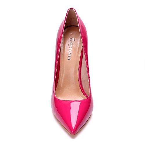 Stiletto de ZAPROMA rouge À Pointu Rose Chaussures Hauts Mariage Pompes Toe Fermer Femmes Talons 88wS7Uq