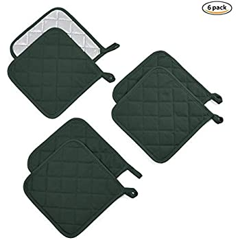 Jennice House Trivets Potholders Set Kitchen Heat Resistant Pure Cotton Coasters Hot Pads Pot Holders Set of 6 for Everyday Cooking and Baking by 7 x 7 Inch (Dark Green)