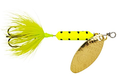 Yakima Bait Wordens Original Rooster Tail 1/8oz Spinner Lure, 3 Pack- Chartreuse Dalmation