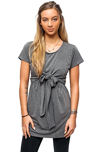 sofsy Soft-Touch Rayon Blend Tie Front Nursing & Maternity Fashion Top Charcoal Large