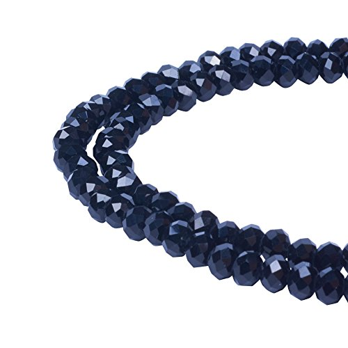 Pandahall 100pcs/Strand Handmade Imitate Austrian Crystal Faceted Abacus Glass Beads, Black, 6x4mm, Hole: 1mm - Faceted Crystal Bead Necklace