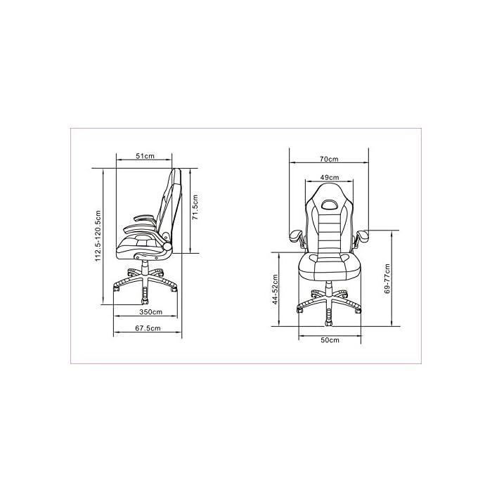 419gdHR2ONL Silla de diseño deportivo, estilo gaming. Tapizado en piel sintética, fácil de limpiar. Perfecta para despachos, aportando un toque sofisticado a la par que divertido Soporte con cinco ruedas resistentes que se desplazan fácilmente en cualquier dirección y en cualquier tipo de superficie. Fabricado en metal para asegurar la estabilidad de la silla Con reposabrazos movible, para que se pueda elegir si usarlos