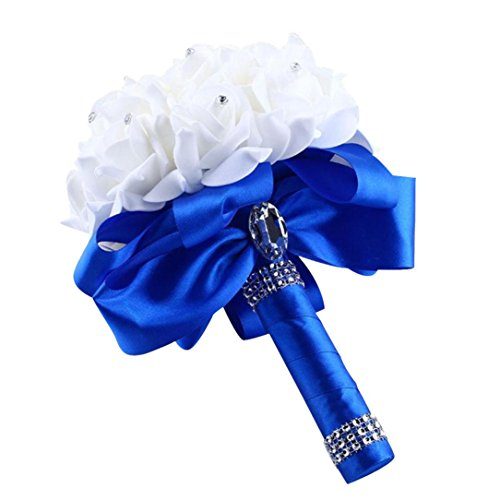 Muxika Roses Pearl Bridesmaid Wedding Bouquet Bridal Artificial Silk Flowers (Blue)