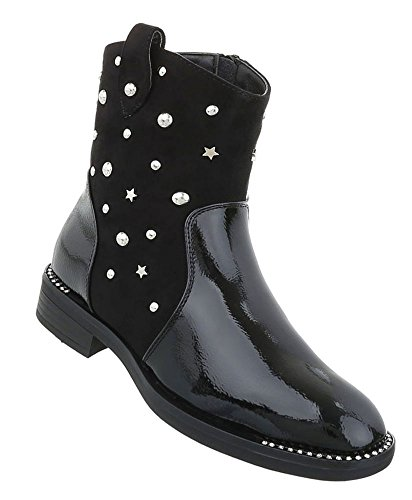 Damen Stiefeletten   Biker Boots Flach   Halbhohe Stiefel Leder-Optik   Worker Boots   Blockabsatz Schuhe   Kurzschaft Stiefelette   Schuhcity24 Schwarz