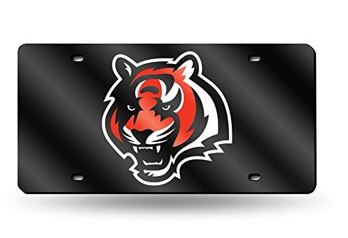 Rico Industries NFL Cincinnati Bengals Laser Inlaid Metal License Plate Tag, Black, 6