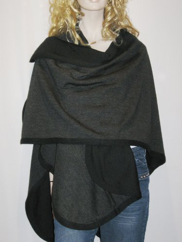 Cashmere Pashmina Group- Cape Woolen Reversible Ruana Knitted Poncho Shawl Cardigans Sweater Coat (Black/Charcoal)