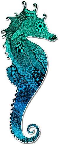 Vinyl Sticker Waterproof Decal GT Graphics Seahorse Colorful Aquamarine
