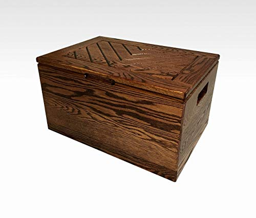 Toy Chest Hope Chest Storage Memory Bench Solid Oak in Mahogany Finish by CW Furniture