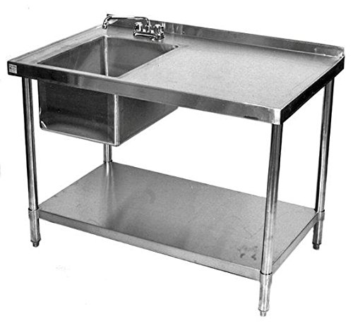 24x48 All Stainless Steel Work Table With Prep Sink On Left