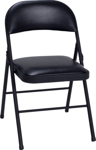 Cosco Vinyl 4-Pack Folding Chair, Black