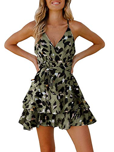 Valphsio Womens Strap Halter Rompers Leopard Print Cross Back Playsuit Beach Jumpsuit Green