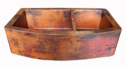 Copper Double Bowl Apron - Rounded Apron Front Farmhouse Kitchen Double Bowl Mexican Copper Sink 60/40 33X22 Inches