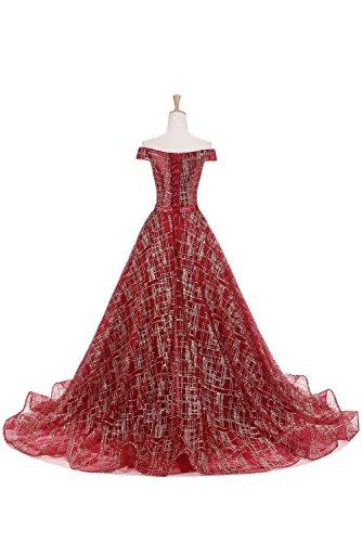 Sunvary Robe Chic Soirée De Robes De Bal De Mariage Épaule Bourgogne Pleine Longueur