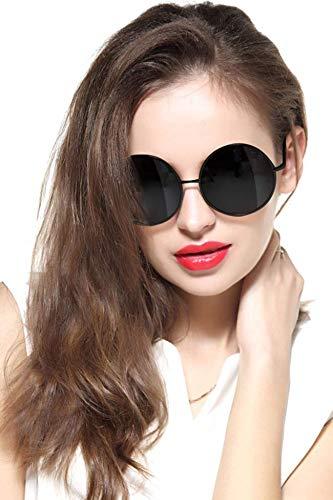 GEELOOK Oversized Round Circle Mirrored Hippie Hipster Sunglasses - Metal Frame (Black Matte Frame/Black Lens, Black) -