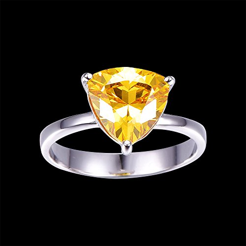 BONLAVIE Women's Fine Sterling Silver Jewelry Created Yellow Citrine Simple Engagement Ring Size 9 by BONLAVIE (Image #3)