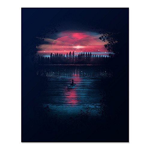 Beautiful Celestial Sky Art Print Cosmic Stars Space Lake Reflection Wilderness Trees Nature Lover at Night Wall Poster Row Boat on Water Illustration 8 x 10 inches