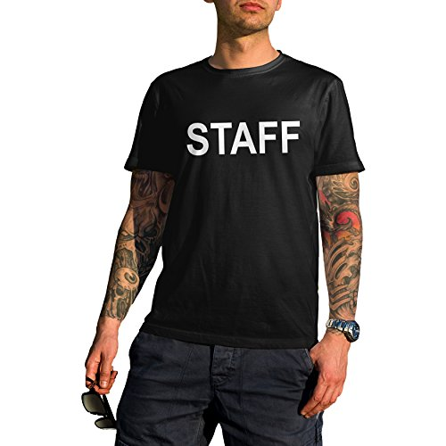CheapRushUniform Event Staff Crew Concert T-Shirt Two Side Print Black (Small, Black)