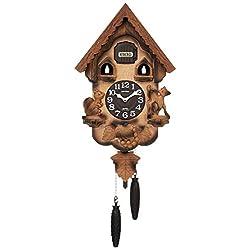 Rhythm (rhythm clock) [ Earnest Bellows Type Cuckoo Clock ] Cuckoo Bread Key R Wood Frame/Dark Brown Blur Wooden Base Finish 4MJ221RH06