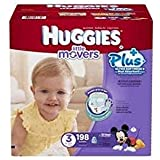 Doaaler(TM) Huggies Little Movers Plus Diapers (Size 3) 198 Ct 16-28lbs Double Grip Strips