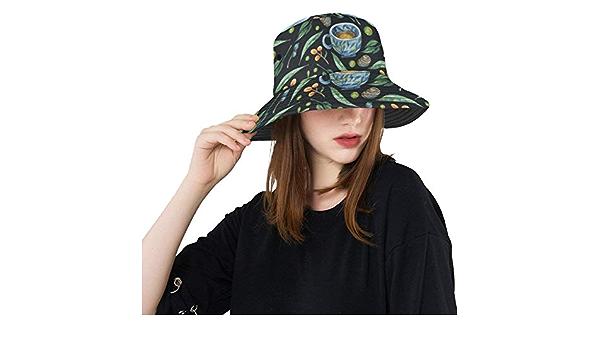 Top Hats Summer Spring Bucket Hat Green Tea Leaf Healthy Sun Outdoor Hats Hiking Outdoor Picnic Hat for Teens Girls