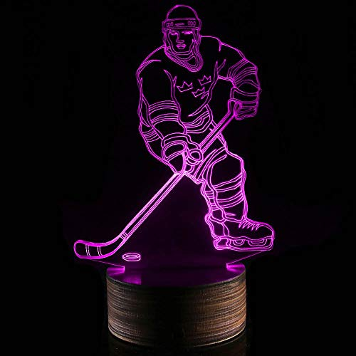 Novelty Lamp, 3D LED Lamp Hockey Player Optical Illusion Night Light, USB Powered Remote Control Changes The Color of The Light, Ideal Gift for Children's Friends and Family,Ambient Light by LIX-XYD (Image #7)