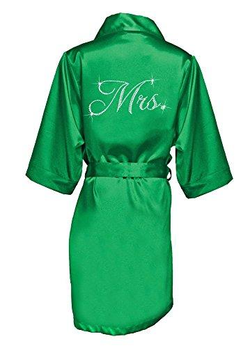 Glam Script Rhinestone Mrs. Satin Robe Style GLAMMRSROBE, Emerald, L/XL